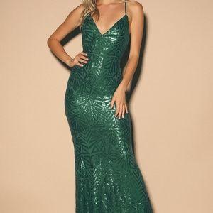 Emerald Green Floor Length LuLus Event dress